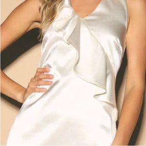 LULU'S Aubrianna Cream Satin Ruffled Mini Dress
